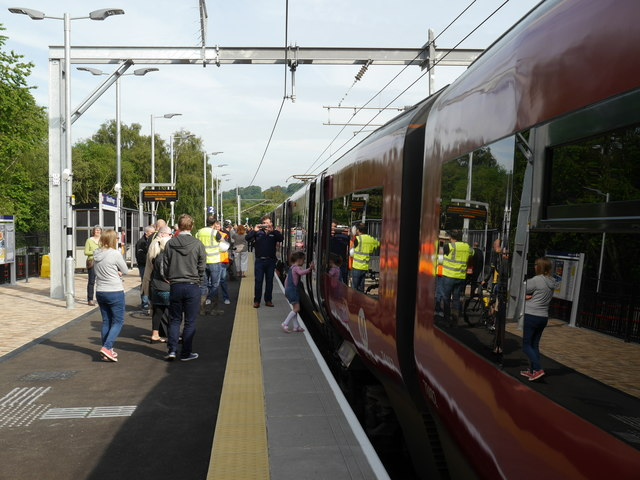 Getting on board the first train, Kirkstall Forge Station