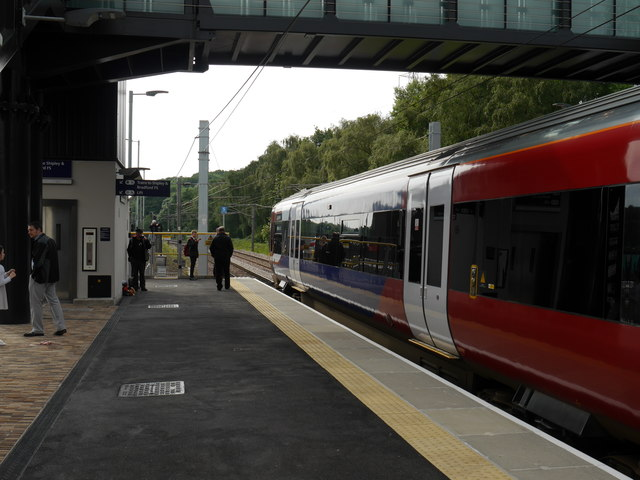 The first Leeds-bound train from Kirkstall Forge Station, about to leave