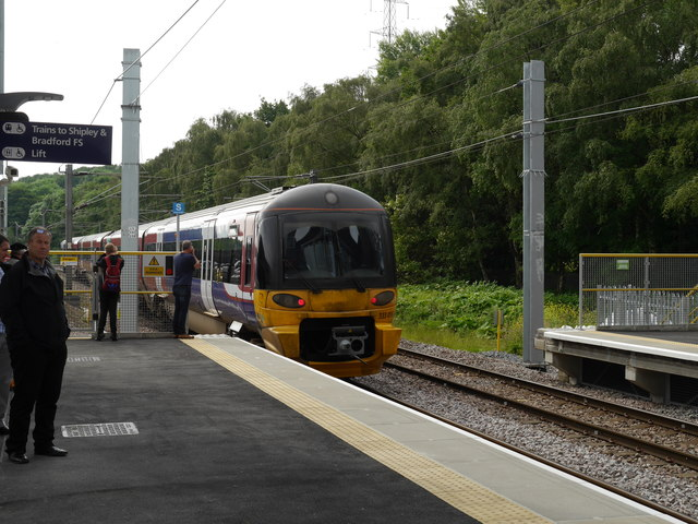 The first Leeds-bound train leaves Kirkstall Forge Station