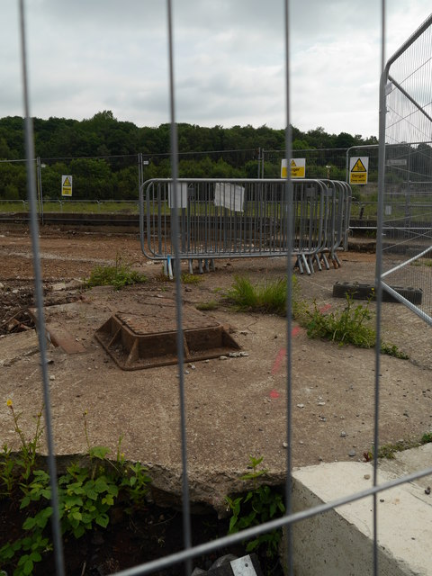 Looking through the security fence, Kirkstall Forge