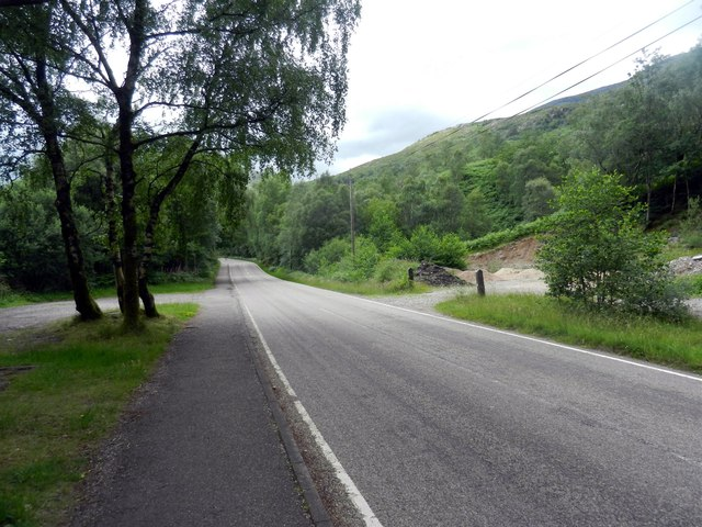 A minor road heading away from Kinlochleven