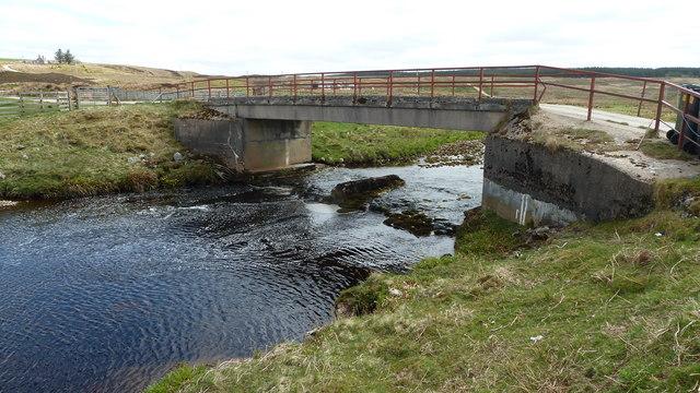 Halladale River and farm access bridge, Forsinain