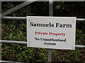 TL1913 : Samuels Farm sign by Adrian Cable
