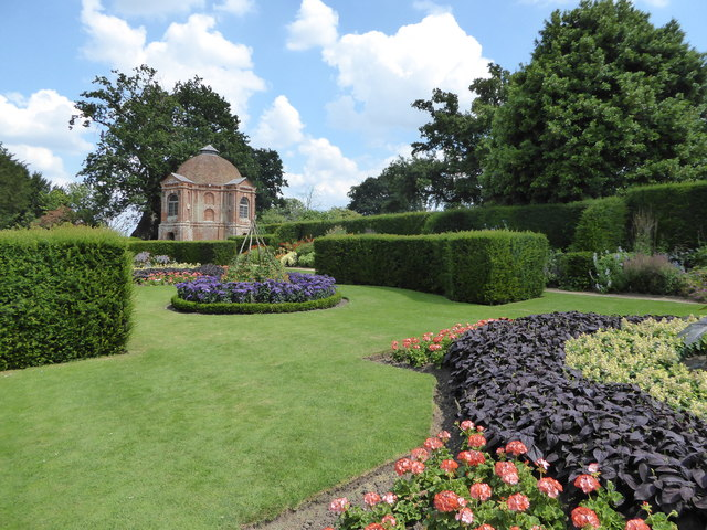 Formal garden at 'the Vyne' with the summerhouse in the background