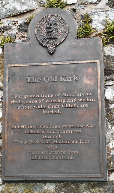 Balquhidder Old Kirk Plaque