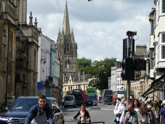 Oxford High Street with Spire of University Church