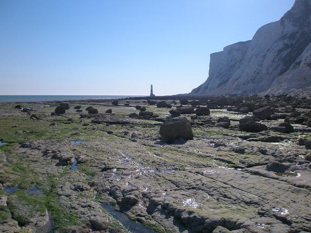 Pedestal rocks on the wave-cut platform near Beachy Head