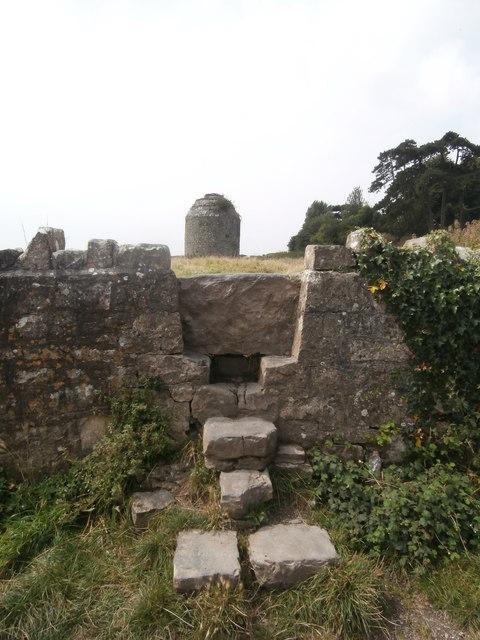 Stone stile giving access to mediaeval dovecote, Llantwit Major
