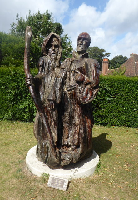 Oak carving by the entrance to chilham pam fray cc