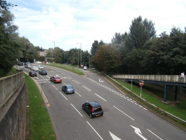 New Cut Rd, Swansea, viewed from the footbridge