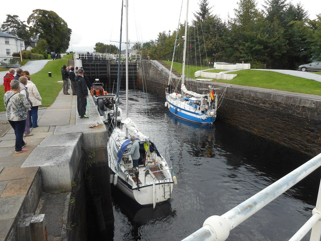Boats ascending Neptune's Staircase, Caledonian Canal