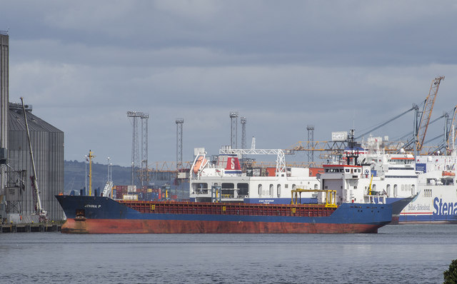 The 'Athina P' departing Belfast