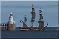 NZ3280 : Shtandart Sailing past Blyth Lighthouse : Week 35
