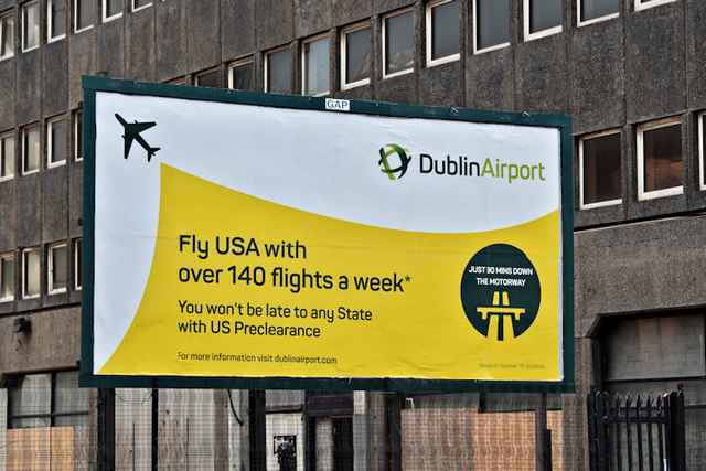 Dublin Airport USA poster, Belfast... © Albert Bridge cc ...