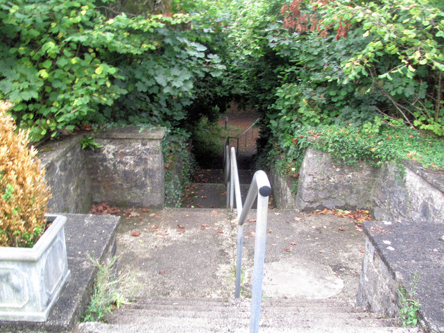 Steps to the former swimming pool at Foxhole School