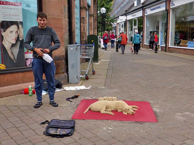 A street artist in Galashiels