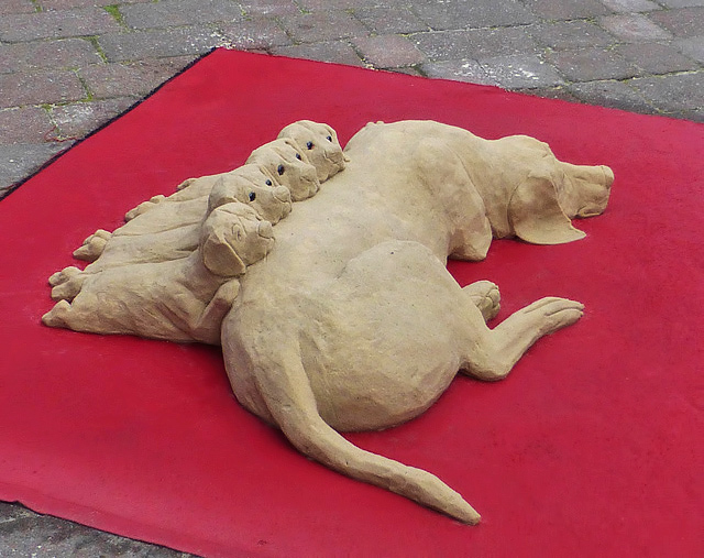 A street artist's sand sculpture in Galashiels