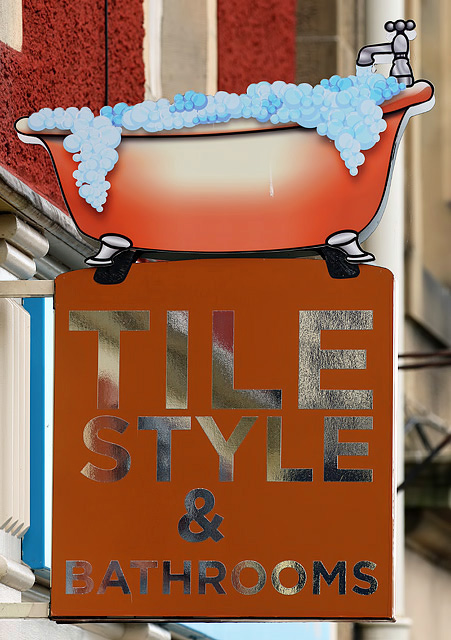 Tile Style and Bathrooms shop sign, Galashiels