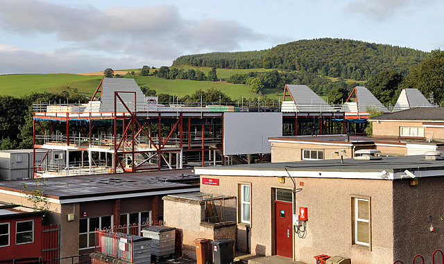 The old and new Langlee Primary Schools, Galashiels