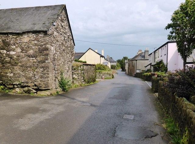 The road through Moreleigh village