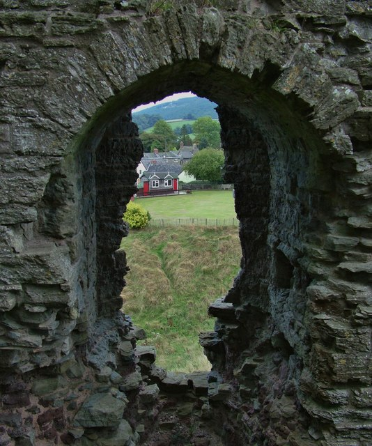 Clun Castle view to the bowling green