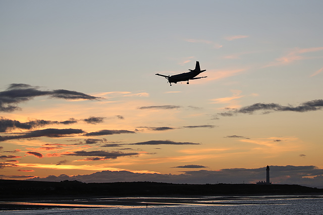 A maritime patrol aircraft returning to RAF Lossiemouth