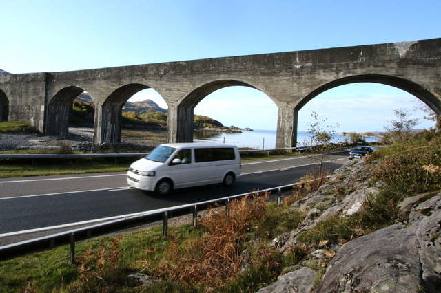 The A830 runs under the Loch Nan Uamh viaduct