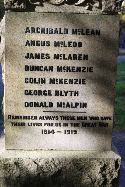 To the sons of Glenfinnan who fell in The Great War
