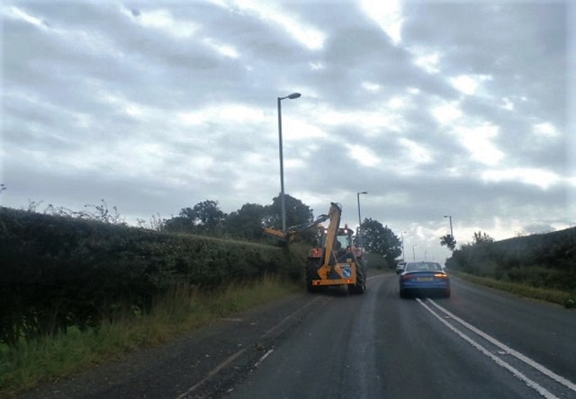 Hedge trimming on the A68