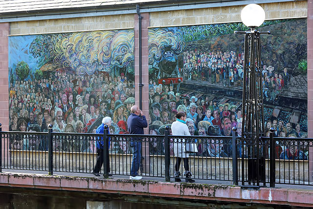 An artwork mural at Douglas Bridge, Galashiels