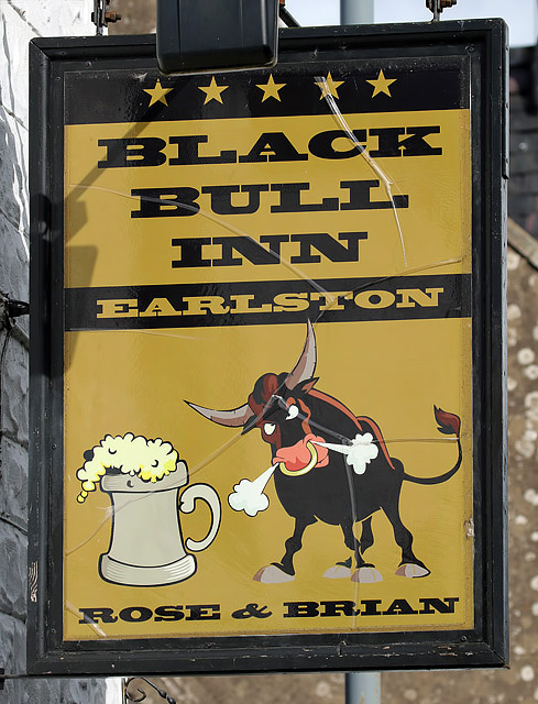 The Black Bull Inn sign at Earlston