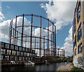TQ3483 : Gas Holder, Regents Canal, London by Christine Matthews
