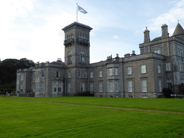 Dunecht House with saltire above tower