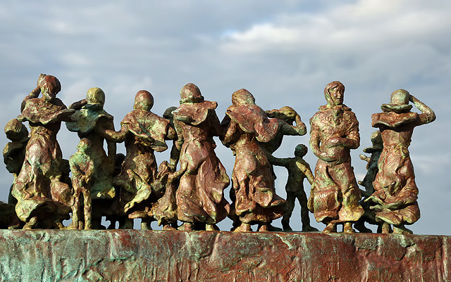 A detail on the Widows and Bairns sculpture at Eyemouth