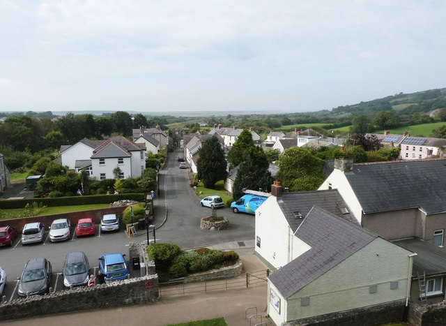 View from the castle wall looking down Castle Street, Kidwelly