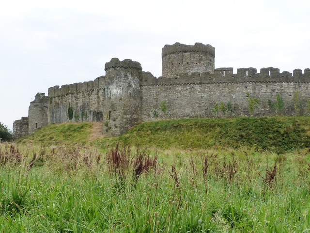 Kidwelly Castle, viewed from the area of Castle Farm