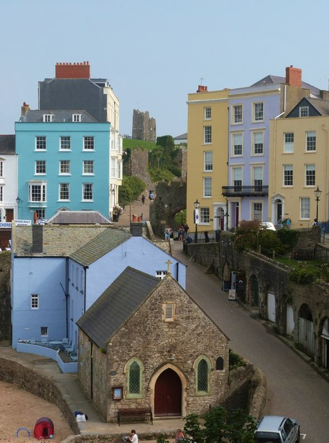 Looking down onto Bridge Street from Crackwell Street, Tenby