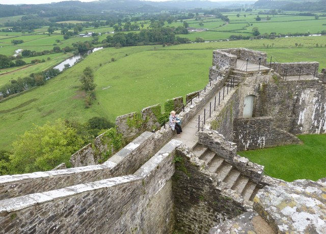 Looking down from the South-eastern tower on to the perimeter walls, Dinefwr Castle, near Llandeilo