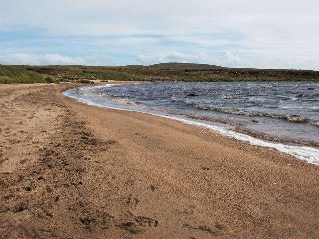 Loch Gress beach with deer tracks