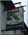 SJ4858 : Sign for the Sportsmans Arms, Tattenhall by JThomas