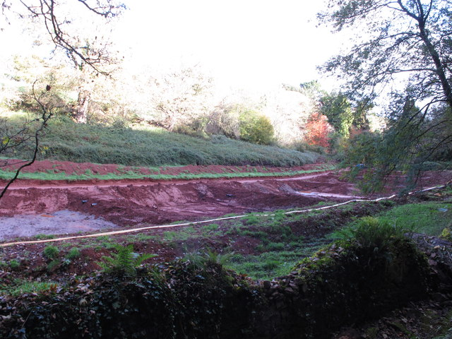 Pits for silt from lake drainage, Cockington