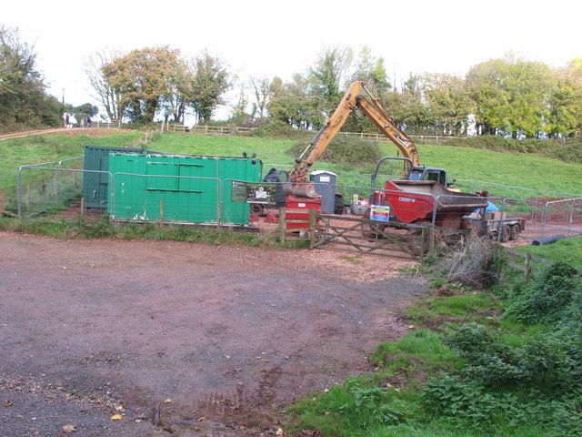 Earth moving equipment for lake drainage, Cockington