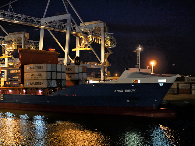 Loading Containers at Night