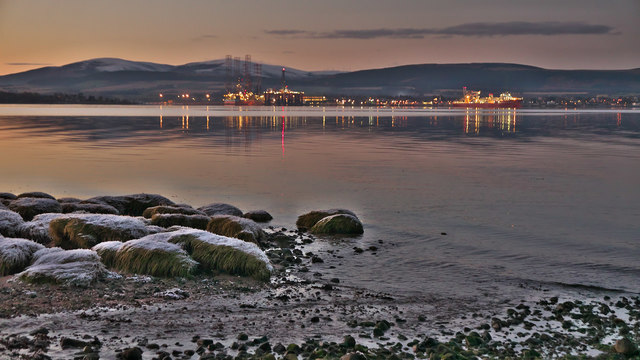 Invergordon at dusk over the Cromarty Firth