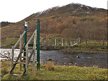 NH2953 : Footbridge across River Meig - fully operational 2016 by Julian Paren