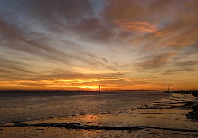 Sunset, estuary and mud, near Hessle