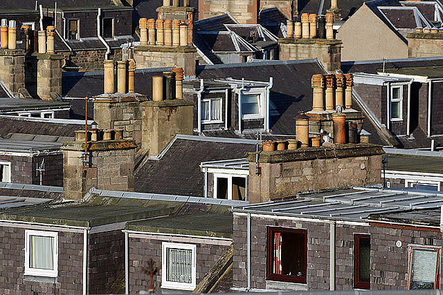 Dormer windows and chimneys