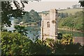 SW8435 : St Just in Roseland:church and creek, 1993 by Derek Harper