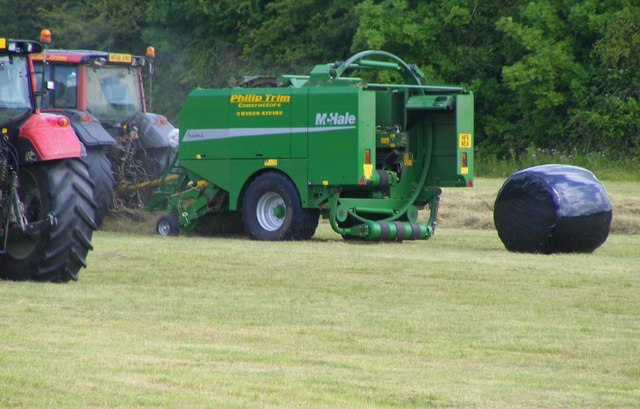 The incredible hay baling machine at Bear Mead nature reserve