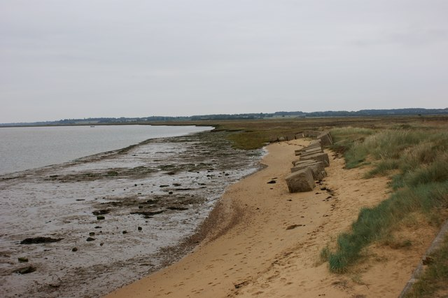 Anti-tank obstacles on the eastern bank of the Deben estuary